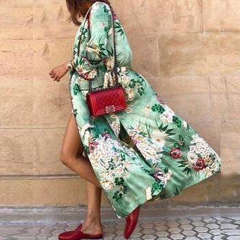 TEELYNN-kimono verde de satén con estampado floral para mujer, caftán para mujer, Túnica vintage de manga larga para otoño, vestidos bohemios, blusas de playa