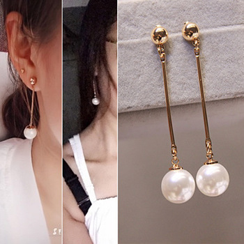 Korean Pearl Women Earrings Fashion Tassel Drop Earrings Elegant Long Section Retro Earrings For Lady Gift Party Jewelry image