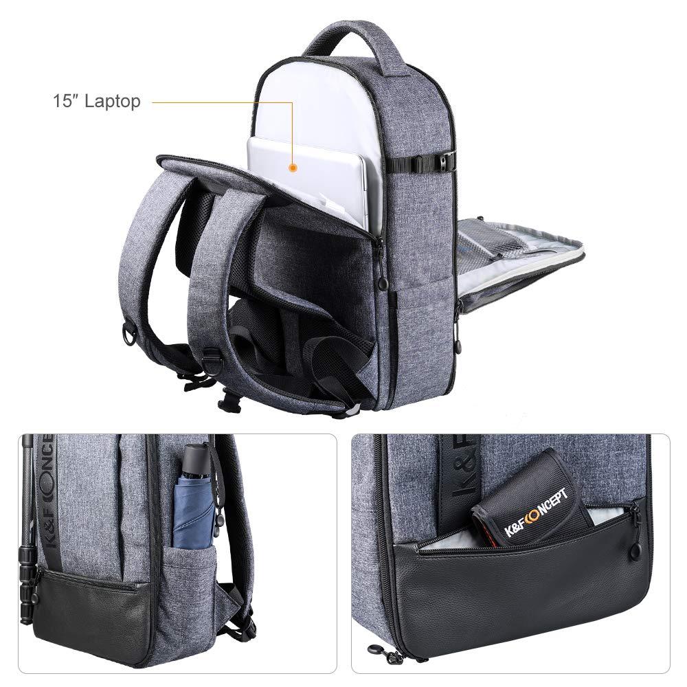 K & f conceito profissional câmera mochila grande capacidade impermeável fotografia saco para câmeras dslr