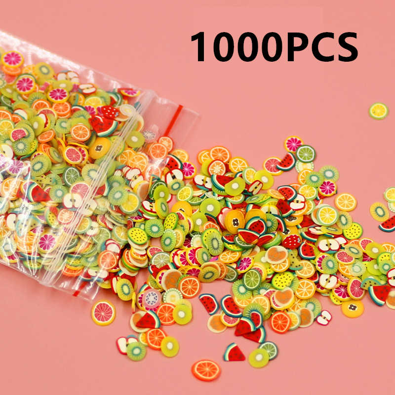 Soft Pottery 1000pcs Fruit Slices Filler For Nails Art Tips Slime Fruit For Kids DIY Soft Clay Accessories Supplies Decoration