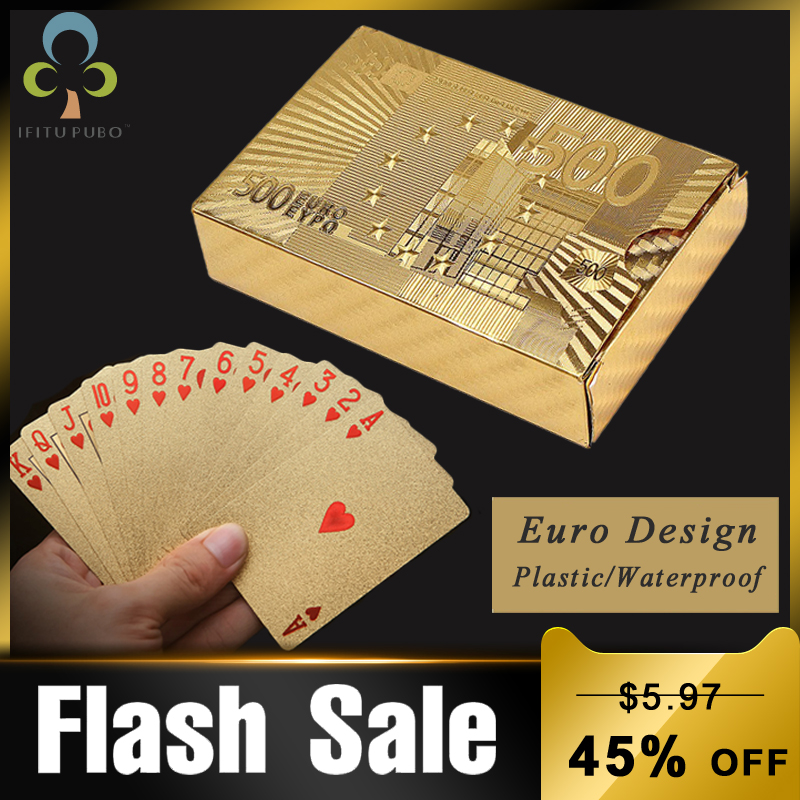 24K Gold Playing Cards Poker Game Deck Euro Design Gold Foil Poker Set Plastic Magic Card Waterproof Cards Magic GYH(China)