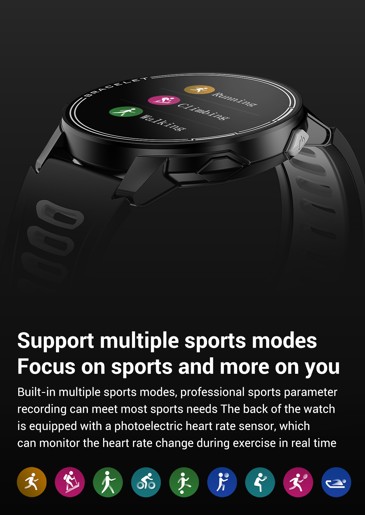 H188879b984f440838b079d37148121a3E 2020 New L6 Smart Watch IP68 Waterproof Sport Men Women Bluetooth Smartwatch Fitness Tracker Heart Rate Monitor For Android IOS