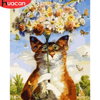 HUACAN Painting Cat Animals DIY Painting By Numbers Kits Acrylic Wall Art Picture For Home Decor Artwork Abstract