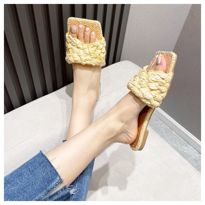chinelos sapatos femininos salto plano slide verão