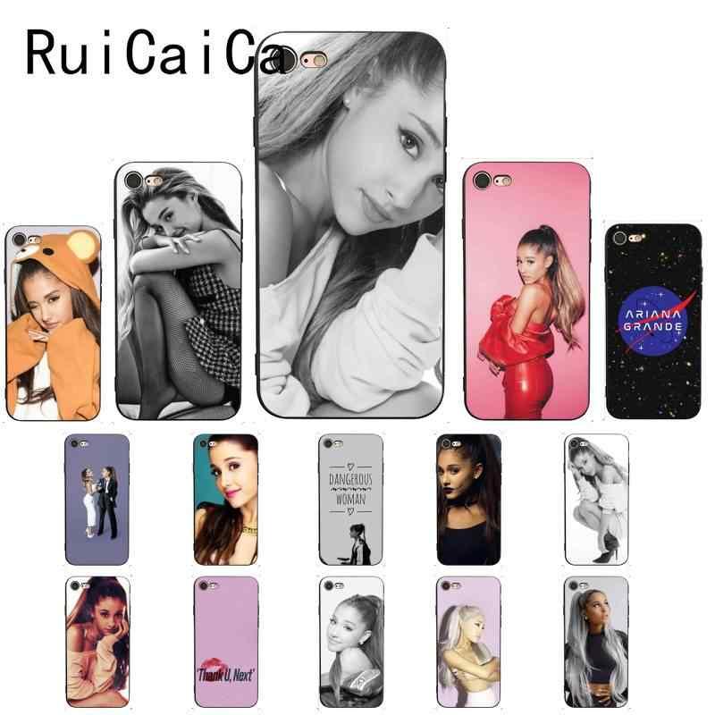 Ruicaica Ariana Grande AG Rainbow สารให้ความหวานสีดำนุ่มสำหรับ iPhone X XS MAX 6 6s 7 7plus 8 8Plus 5 5S SE XR