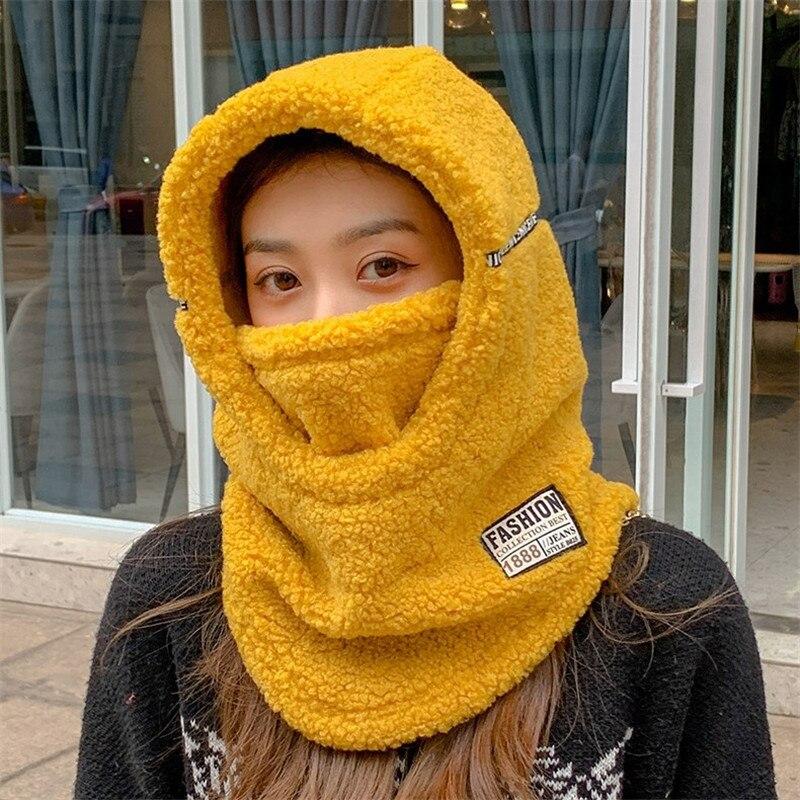 Outono inverno novas mulheres quente boné ao ar livre com capuz gola cabeça capa grossa de pelúcia veludo máscara cachecol uma peça chapéu