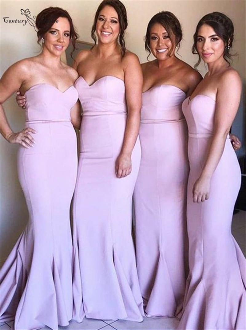 Pink Long   Bridesmaid     Dresses   Mermaid Sweetheart Zipper Back Sweep Train Simple Satin Prom Party Gowns Wedding Guest Gowns 2019