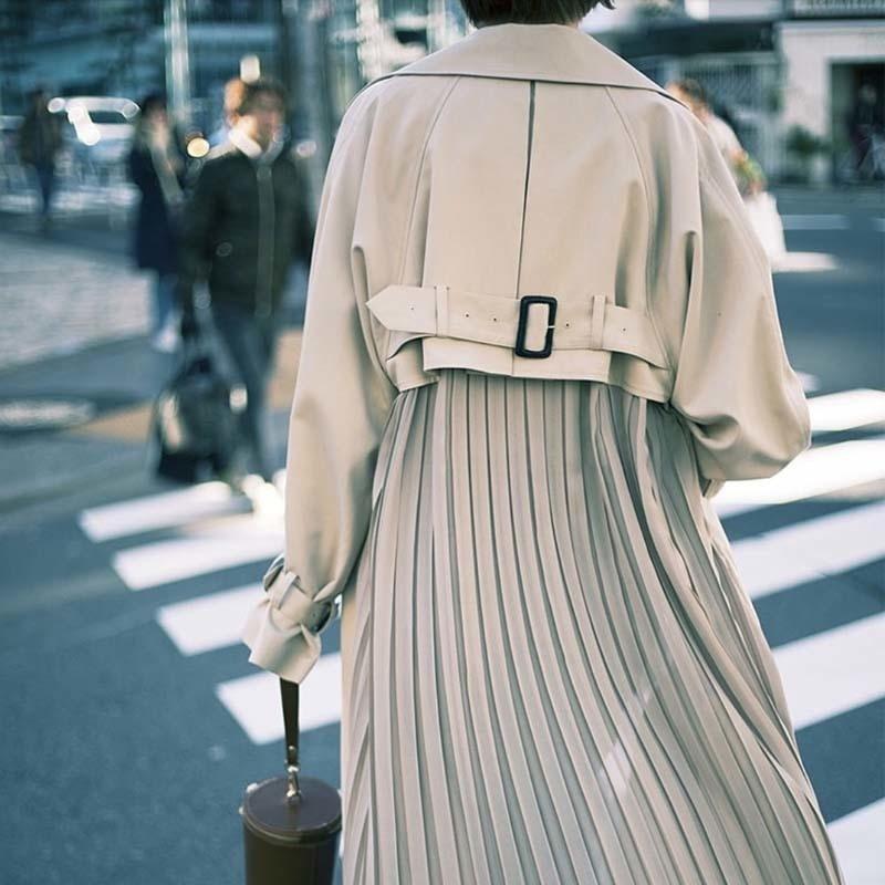 SHENGPALAE Pleated Back Belts Windbreaker Female 2020 New Winter Autumn Personality Turn-down Collar Women Long Fund Coat FR369