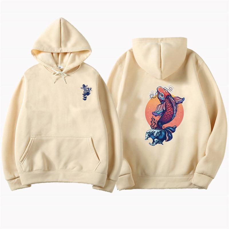 Japanese Ukiyo-e Tattoo Carp Print Pullover Hoodies Harajuku Casual Hooded Sweatshirts Hip Hop Fashion Streetwear Tops