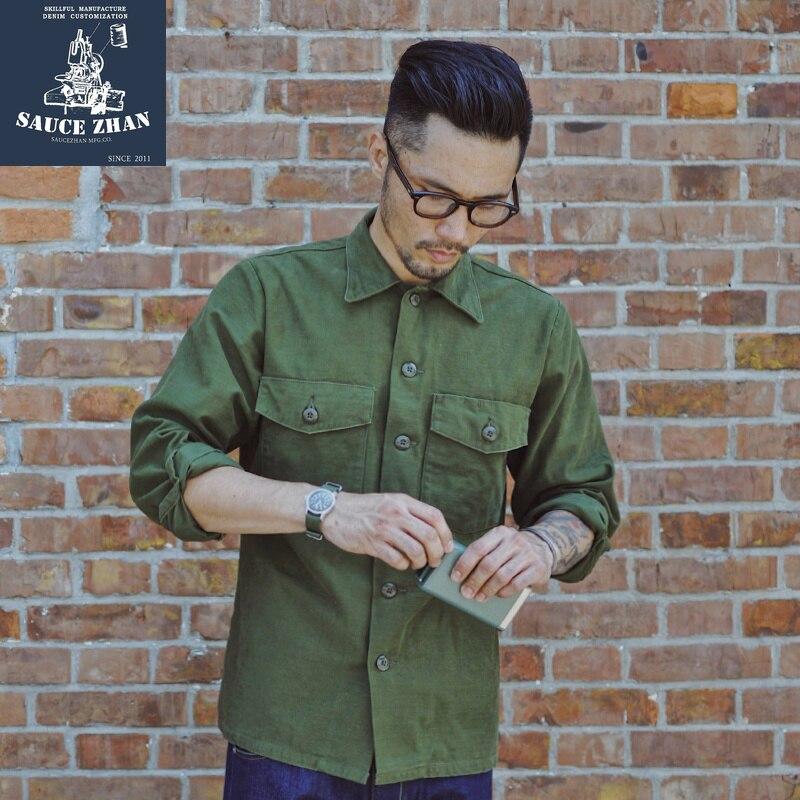 SauceZhan Og 107 zmęczenie Utility koszula oryginalny Reetched płaszcz Retro VINTAGE bawełniana koszula męska z długim rękawem koszula męska sukienka w Koszule nieformalne od Odzież męska na  Grupa 1