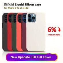 Oficial caso de silicone original para iphone 11 12 mini se 2020 xr x xs 7 8 6s mais casos para iphone xs 11 12 pro max capa completa