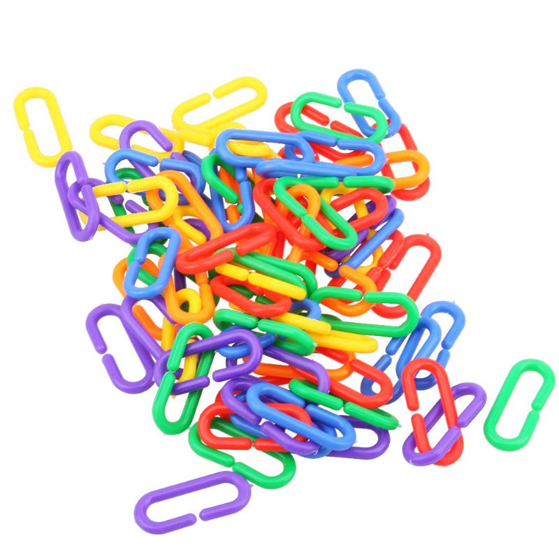 100pcs Plastic C-clips Hooks Chain C-links Sugar Glider Rat Parrot Bird Toy