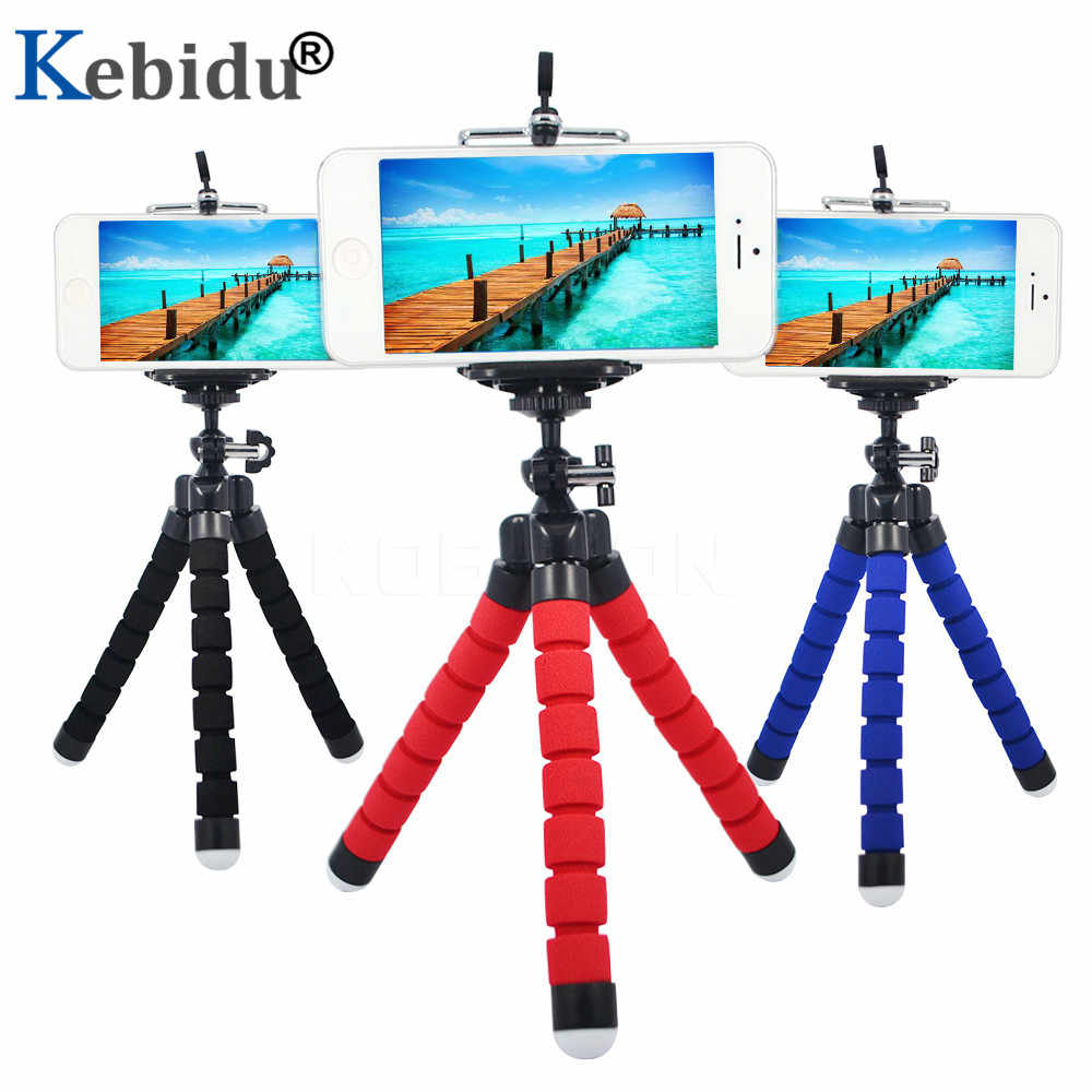 Kebidu Octopus Camera Tripod Light Weight Flexible Sponge Phone Tripod With Phone Holder Clip Stand For Bicycle Laptop