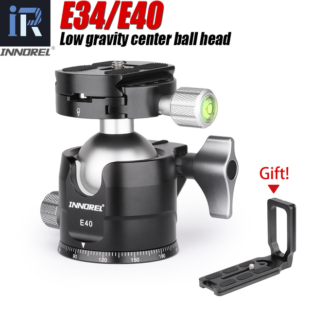 """E40/E34 Low Profile Tripod Ball Head with 1/4"""" Arca Swiss L Plate Bracket and Quick Release Plate for DSLR Monopod Camera"""