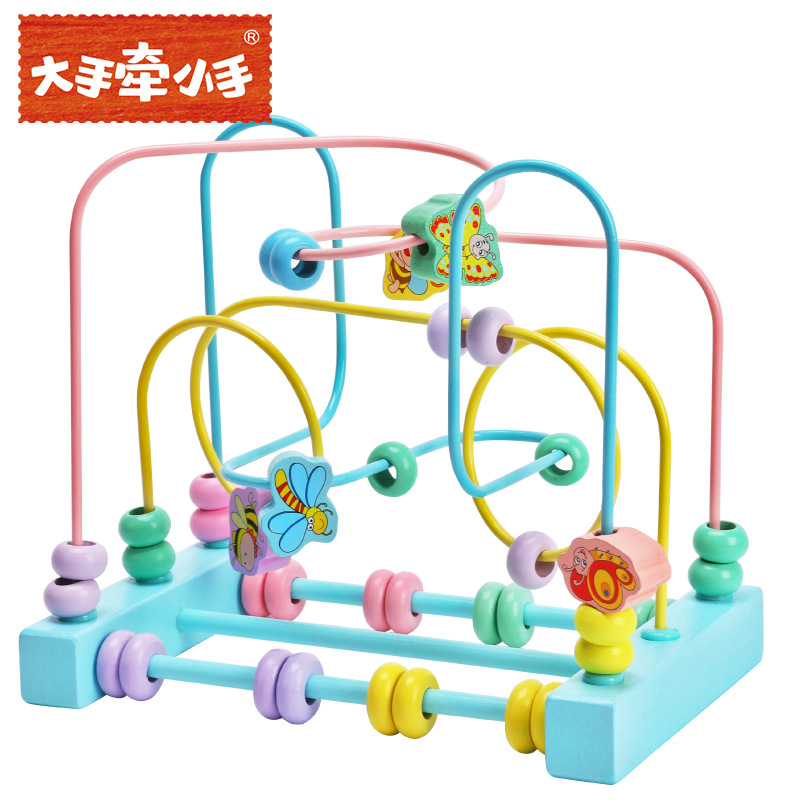 Big Hands Hands For CHILDREN'S Bead-stringing Toy Macarons Three Block Second Insect Wooden Bead-stringing Toy Children'S Educat
