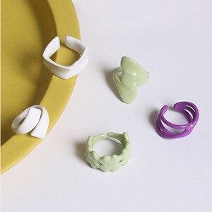 AOMU 2020 Новые корейские геометрические Необычные Цветные цветные открытые кольца с глазурью для женщин Macaron цветные модные кольца ювелирные ...