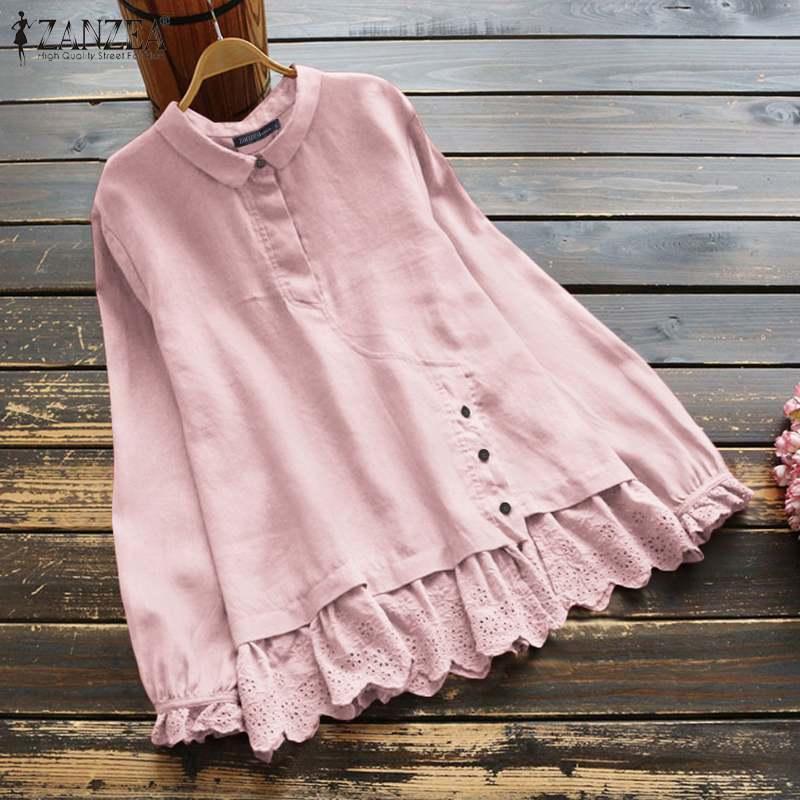 ZANZEA femmes dentelle Patchwork Blouse Vintage à manches longues volants Chemise printemps coton lin Blusas ample solide tunique hauts Chemise