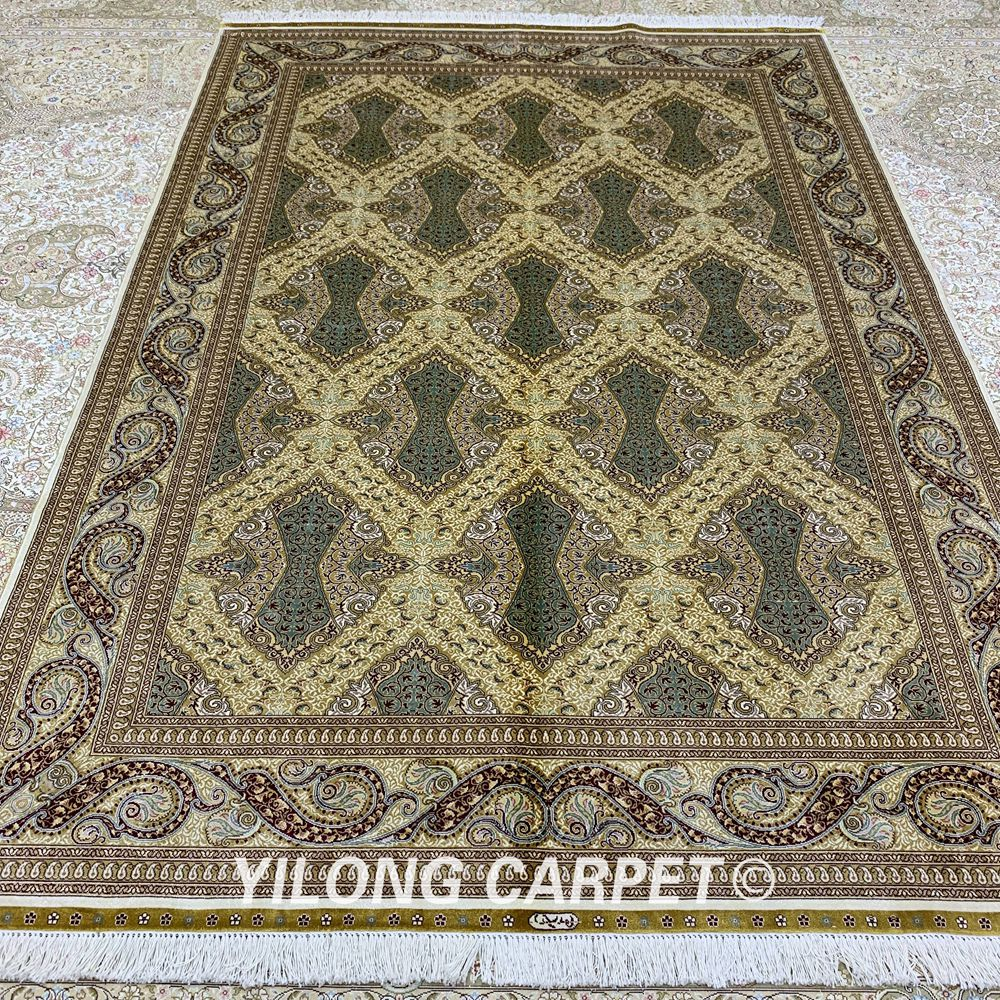Yilong 5,5'x8 'persisk gulvtæppet rektangelgrønt tyrkisk - Hjem tekstil - Foto 4