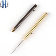 Brass Portable Simple Fruit Sign Multi-function Spring Retractable Toothpick Holder Body + Titanium Alloy