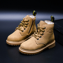 New Girl Leather Martin Boots Shoes For Girls Children Non-slip Warm Fashion Soft Bottom Boys Kids Sneakers