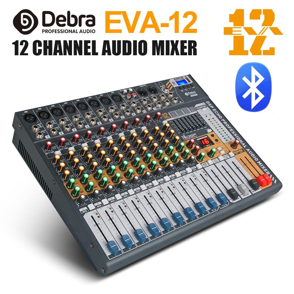 Debra Audio Clean Sound!Pro EVA-12 12Channels Audio Mixer Dj Consoler With 48V Phantom Power USB  Bluetooth For Recording Stage