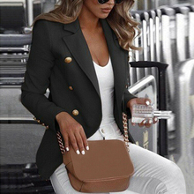 Women Blazer Plus Size Long Sleeve Coat Office Lady Button Blazer Work Wear Coat Outwear Top Solid Color Blazers Suit