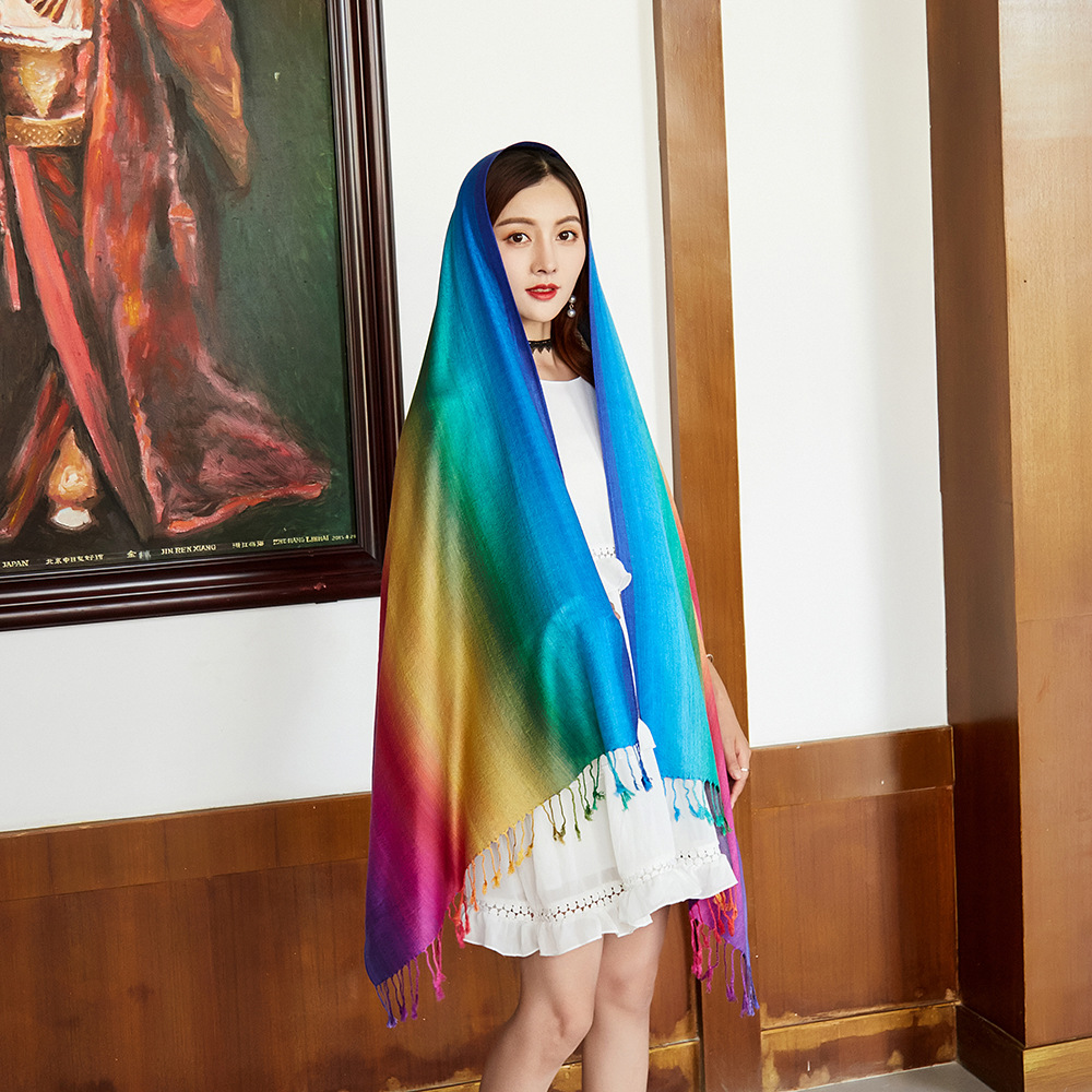 Women Rainbow Color Scarves New Mujeres Bufanda Chal Chinese Women's Rainbow Scarf Shawl Elegant Scarves Size 70 X 180cm