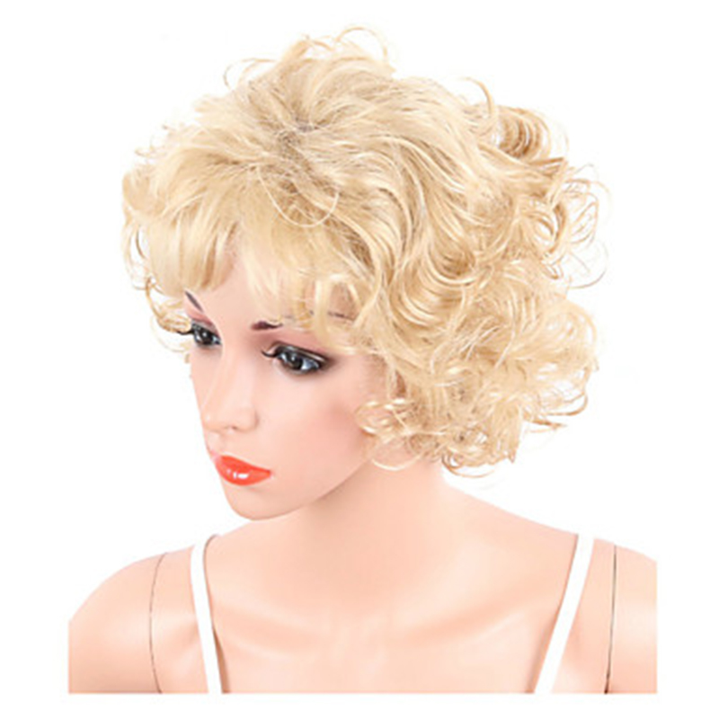 Image 4 - HAIRJOY  Synthetic Hair Women Blonde Short Curly  Wigs Free ShippingSynthetic None-Lace  Wigs   -