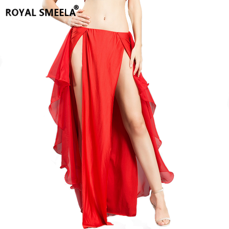 Women Fashion Sexy Belly Dance Both Sides Slit Chiffon Skirt Dance Clothes Bellydance Costume Dress Carnival 6 Colours Free Size