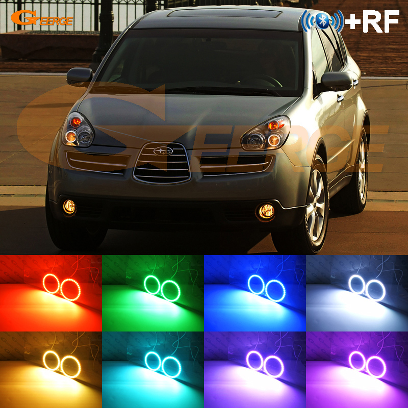 Excellent RF remote Bluetooth APP Multi-Color Ultra bright RGB LED Angel Eyes Halo Ring kit For Subaru Tribeca B9 2006 2007