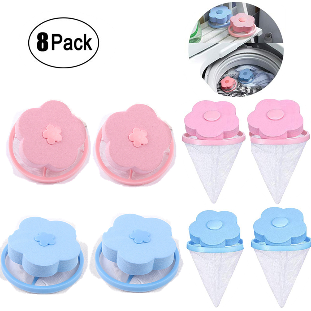 8pcs Washer Filter Bag Mesh Bag Filtering Hair Removal  Pet Fur Lint Hair Catcher Laundry Cleaning Mesh Bag