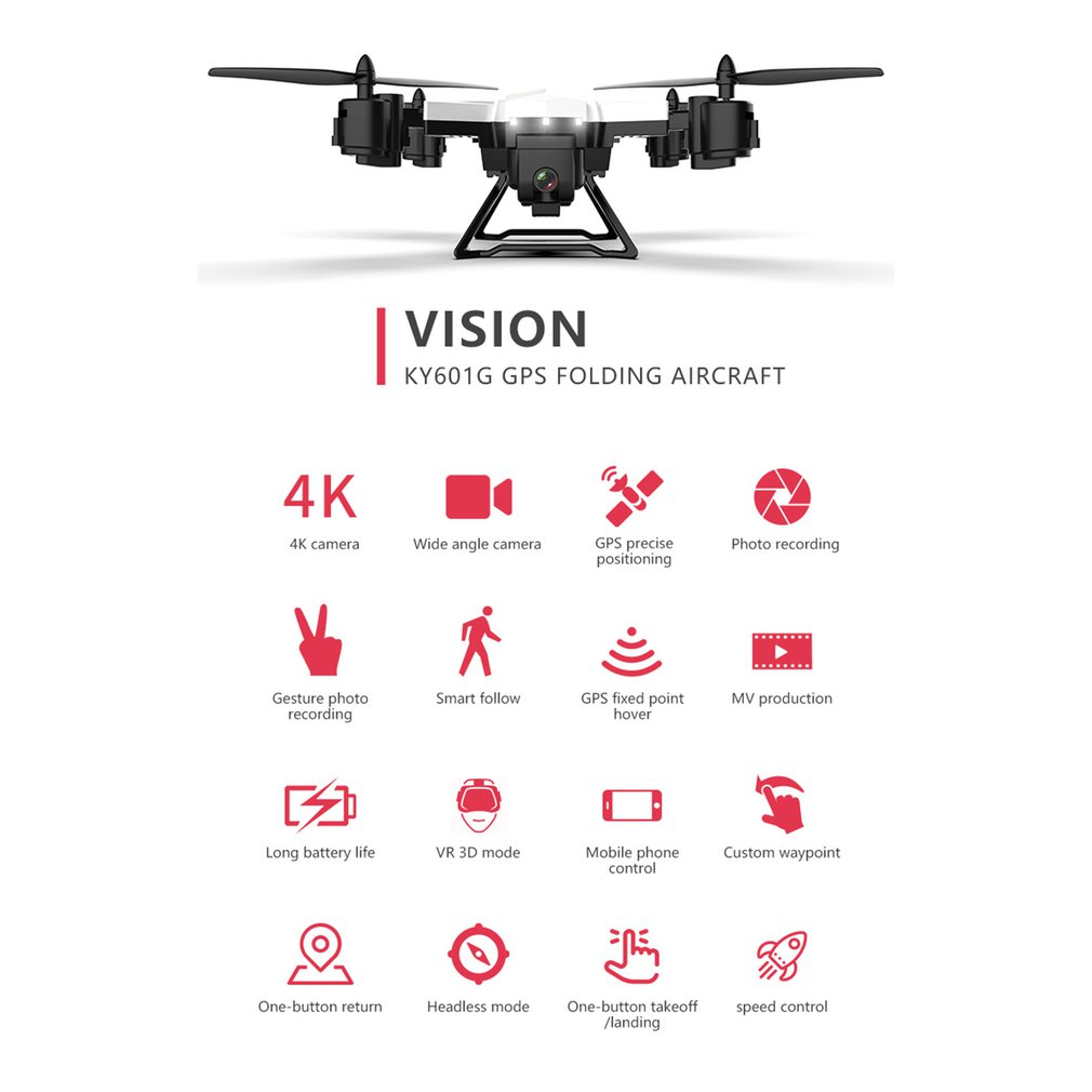Drone GPS KY601G 4k drone HD 5G WIFI FPV drone vlucht 20 minuten quadcopter afstandsbediening afstand 2km drone camera - 5