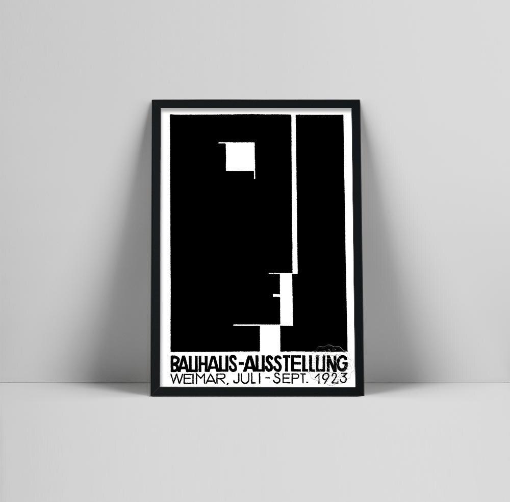 Cartaz de exposição de arte bauhaus, impressão de exposição bauhaus, herbert bayer cartaz, bauhaus impressão, walter gropius, bauhaus arte exhibi
