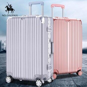 цена на NEW luggage bag travel suitcase business luggage trolley case on wheel aluminum frame hardside Silent suitcase Super fashion