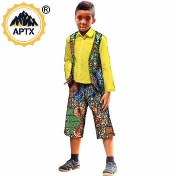 African Children Suits  3 Pieces Long Sleeves Wax Print Ankara 100% Cotton Material Bodysuits S204007