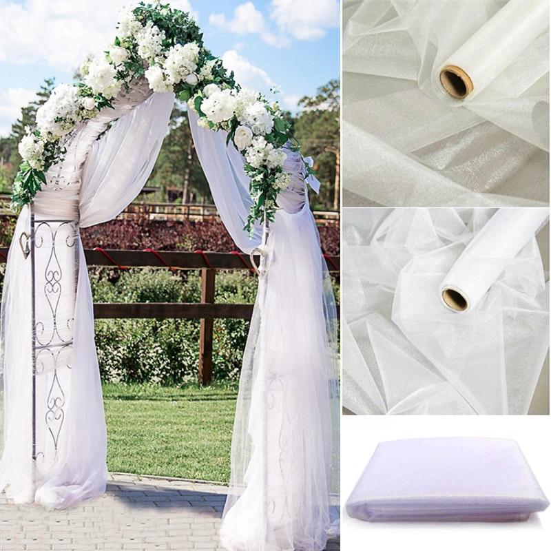 5/10M Sheer Crystal Wedding Tulle Roll Organza Fabric For Wedding Birthday Party Backdrop Decor DIY Wedding Organza Chair Sashes