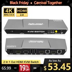 Kvm-switch 4K 60Hz HDMI KVM Schalter Tesla smart HDMI KVM Schalter Unterstützung 3840*2160/4K * 2K und USB 2.0 Ports Tastatur und maus