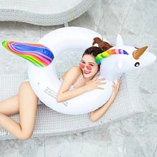 купить Giant Inflatable Rainbow Unicorn Swimming Ring Adult Child Party Pool Float Toys Inflatable Circle Float Seat Large Life Buoy дешево