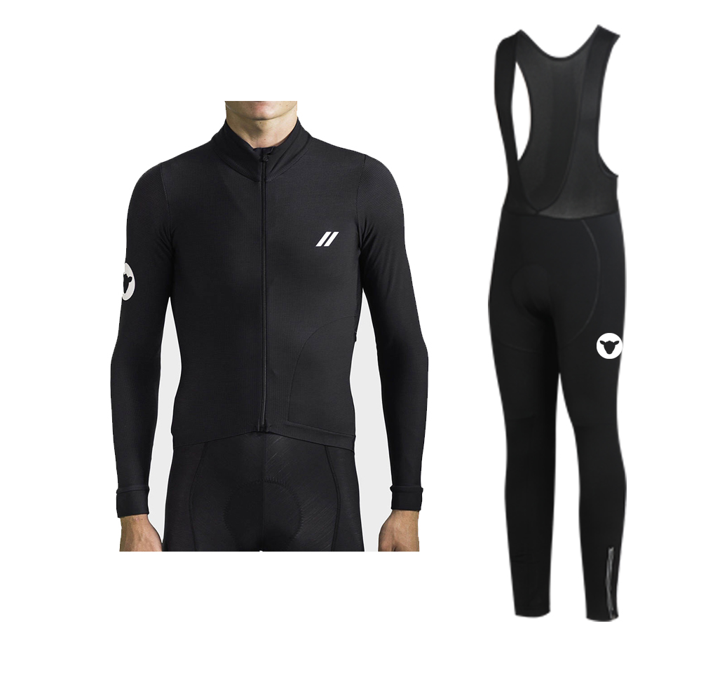 2019 Winter Black Sheep  Thermal Fleece Long Sleeve And Bib Pants Cycling Jersey For Winter Ride Yellow /black