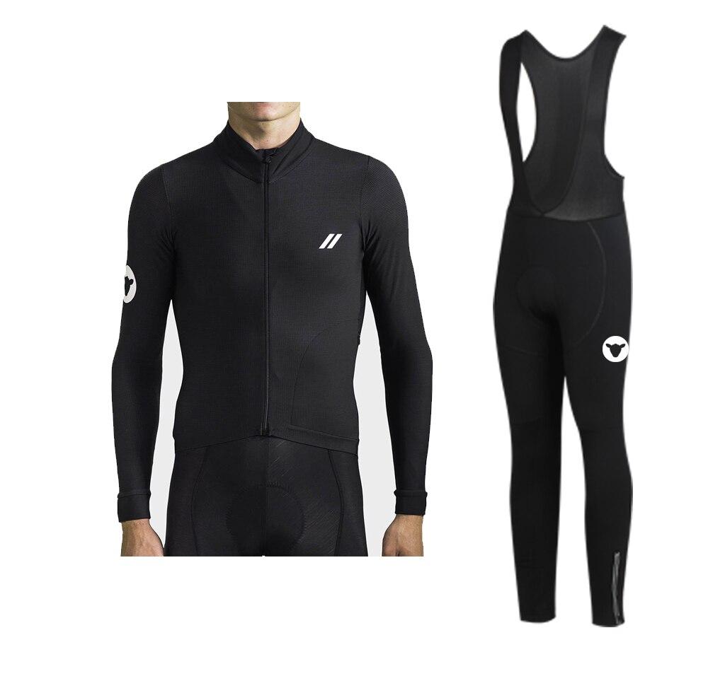 2019 Winter Black Sheep  Thermal Fleece Long Sleeve And Bib Pants Cycling Jersey For Winter Ride Yellow /black