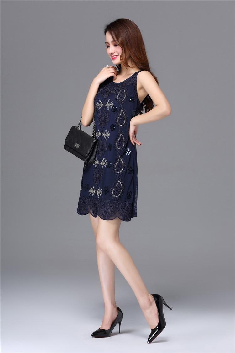 Image 3 - Summer Sleeveless Round Neck Lace Floral Vintage Elegant Fashion Sequin Knee Length Plus Size Formal Party Cocktail DressesCocktail Dresses   -