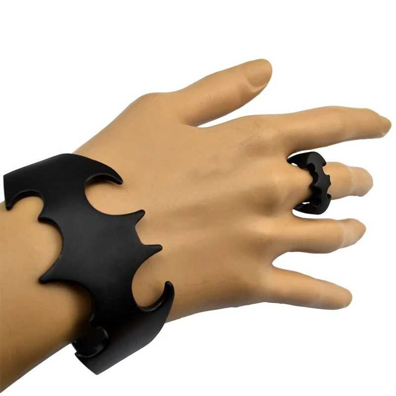 New Fashion Punk Cartoon batman pattern ring Personality Black Finger Ring Bangle Cuff Ring Jewelry