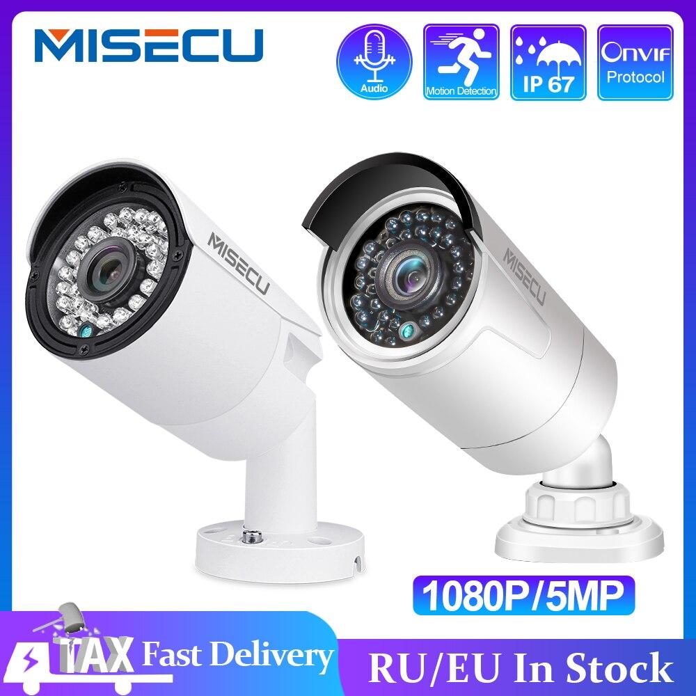 MISECU H.265 Volle HD 2MP 5MP Sicherheit Audio IP Kamera 1080P Metall Wasserdichte POE ONVIF Kugel Outdoor CCTV Überwachung kamera