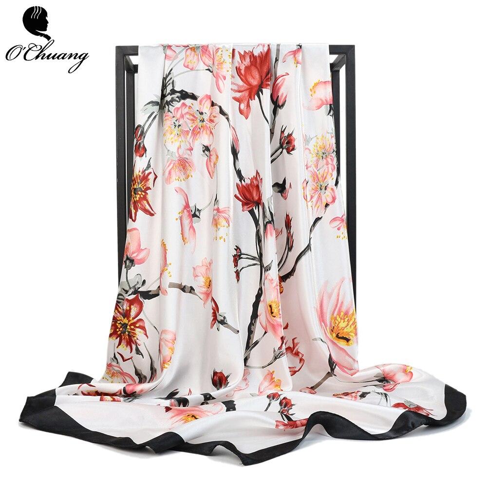 Wholesale Fashion Scarf Women Female 90*90cm Silk Satin Scarves Luxury Brand Square Shawl Spring Summer Head Scarfs For Ladies