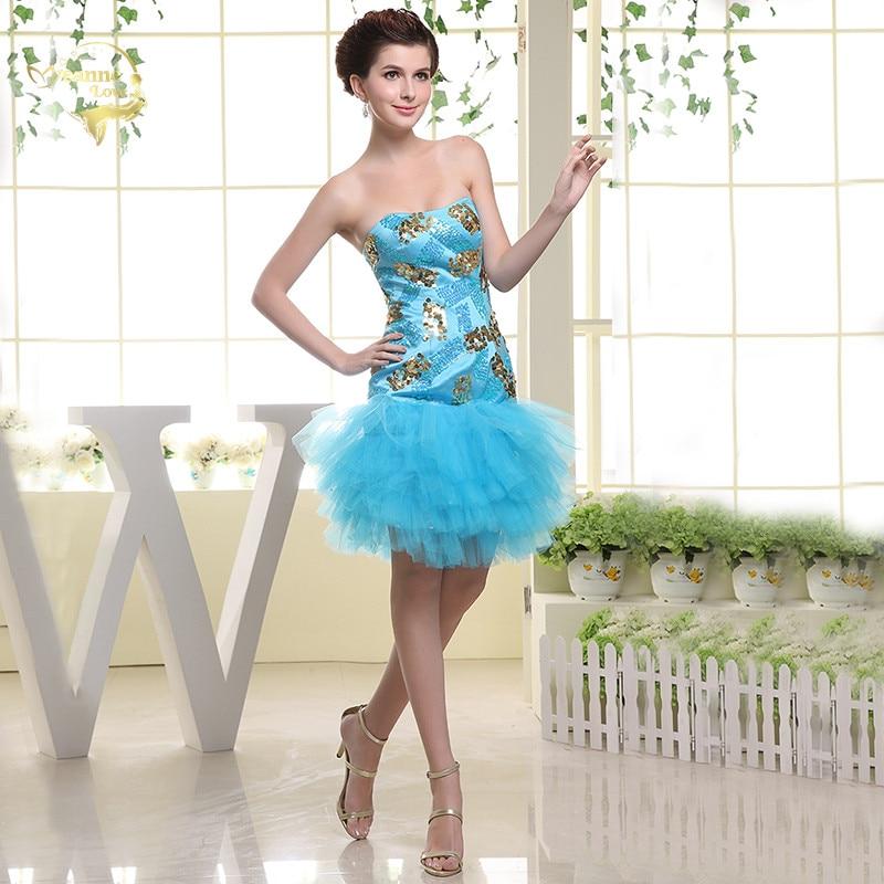 Light Sky Blue Cocktail Dresses Tulle Sequin Short Party Prom Gowns Graduation Homecoming Dresses robe de soiree courte 2019