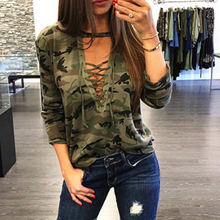 цены на Women Long Sleeve Camouflage Printed T-Shirt Sexy Lace up V-neck Tops Autumn Plus Size T Shirts Tees  в интернет-магазинах