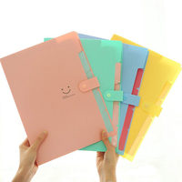 5 Pockets Plastic Expanding File Folders A4 Letter Size Snap Closure Paper Organizer Set of 4 Multicolored