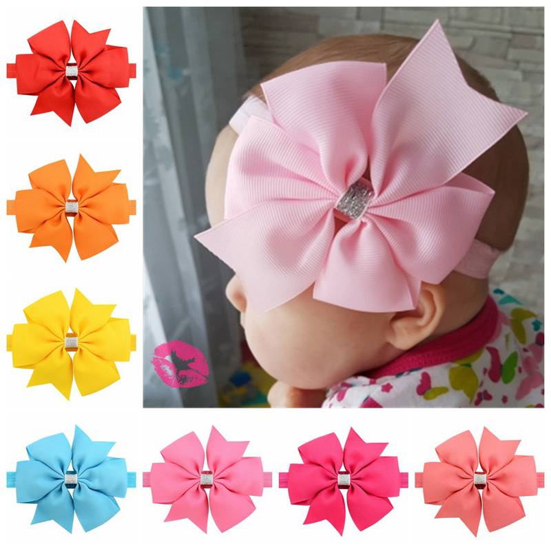 1PCS Baby Girls Elastic Hairband Colorful Headwear Baby Hair Band Big Bow Silver Ribbon Dovetail Headband Baby Photography Props