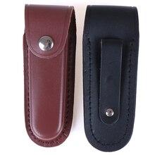 Cuchillo plegable para caza, cinturón para linterna, estuche protector de cuero, funda, bolsa de bolsillo