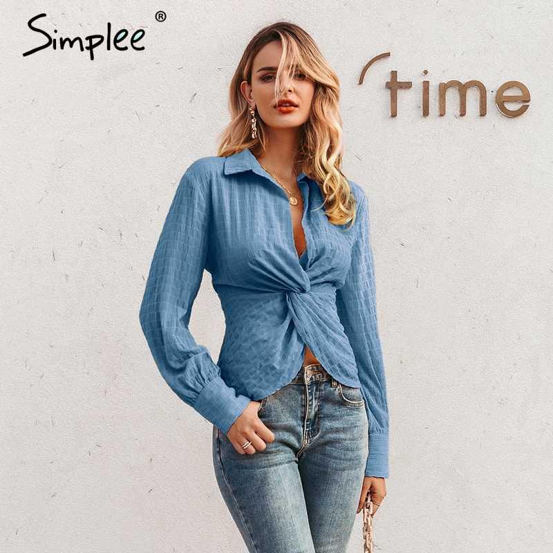 Simplee rahat bükülmüş kadın ekose bluz gömlek zarif uzun kollu sonbahar kadın bluz yüksek bel ince ofis bayanlar tops 2019